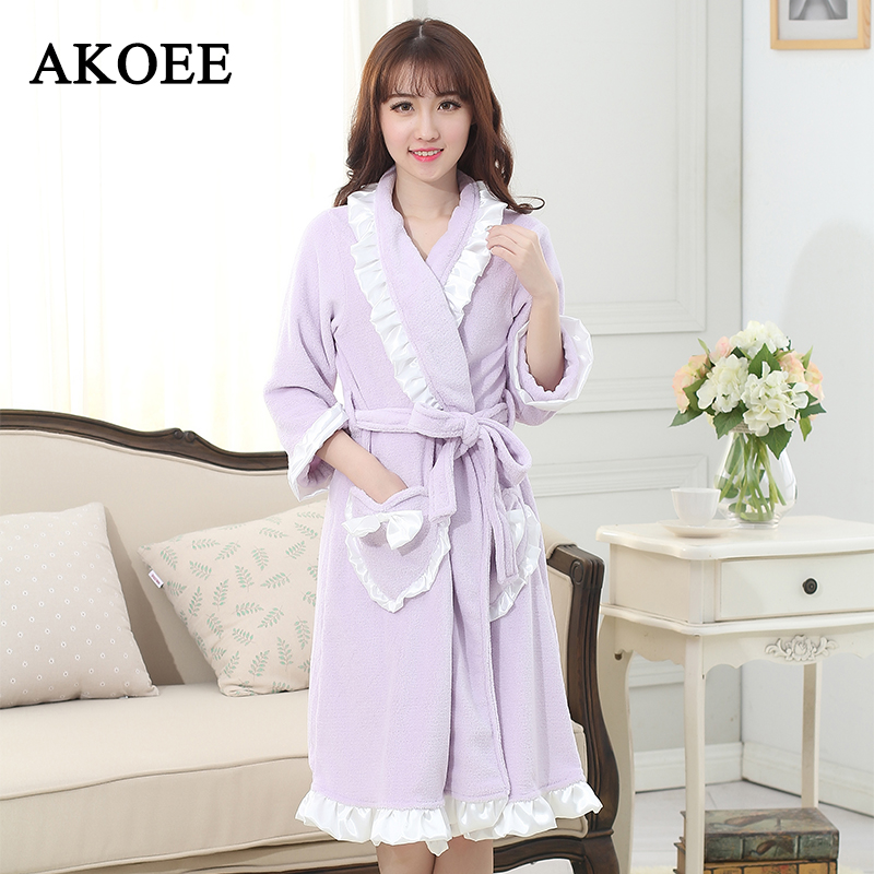 Spa Microfiber Bathrobes for Womens Ruffled Sleeve Wearable Towel Robes Pocket Coral Fleece Robes Washclothing Wrap Bath Towels