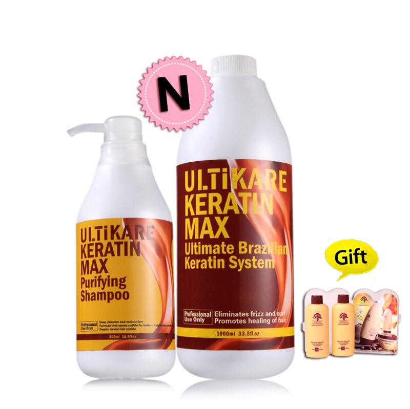 Бесплатная доставка 1000 мл 5% бразильский лечение кератином выпрямить нормальный вьющихся волос + 500 мл очищающий шампунь восстановления пов...