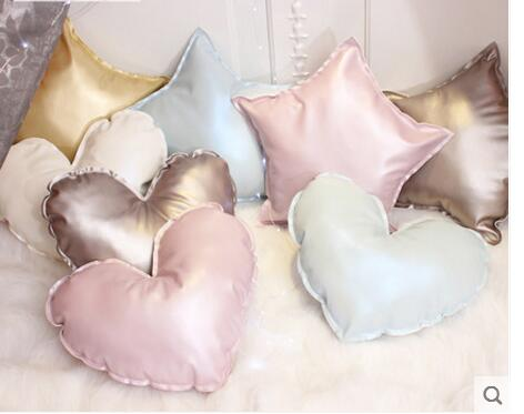 Love Star Pillow Cushion Core PU Imitation Leather Princess Pink Bed Head Cushion Core