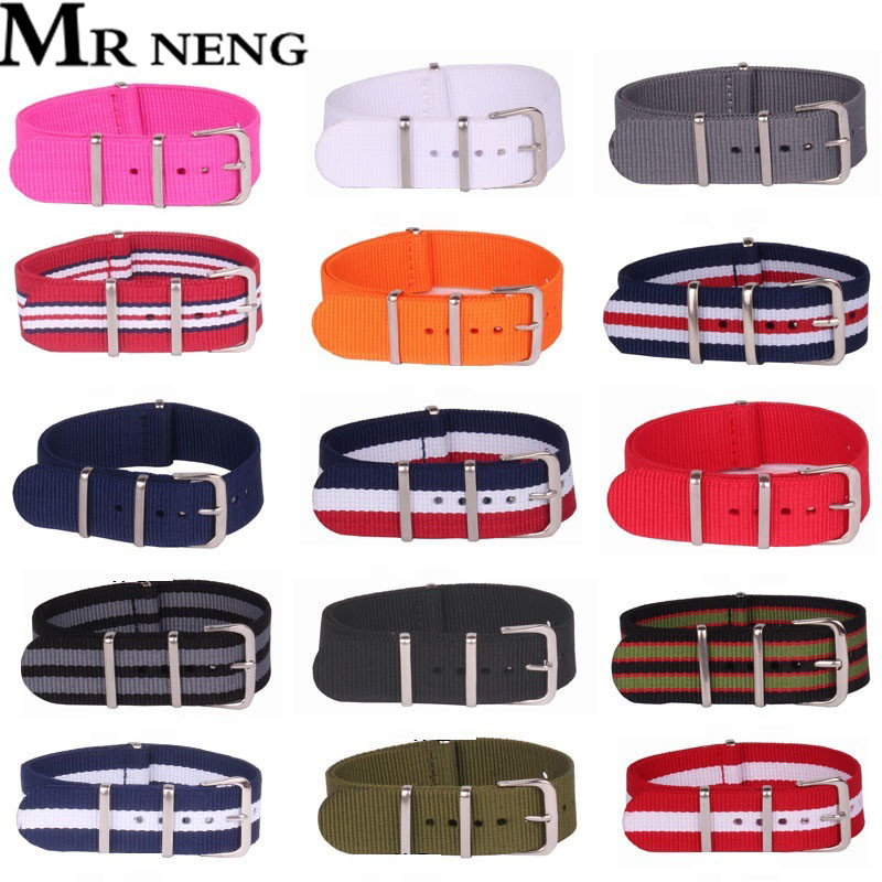 MR NENG 18 20 22 24mm Brand Army Sports Nato Fabric Nylon Watchband Accessories Bands Buckle Belt For 007 Watch Strap Black-Grey xiyuan brand pineapple shape red yellow crystal women evening purse metal clutch bag wedding dinner minaudiere handbag wallet