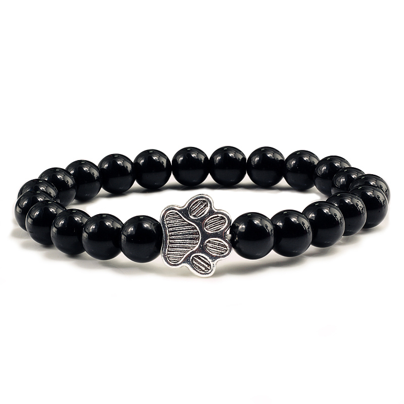 Us 0 95 39 Off Natural Matte Black Lava Volcanic Stone Paw Print Charm Bracelet Homme Femme Pet Memorial Cat Dog Jewelry Bracelets Gifts In