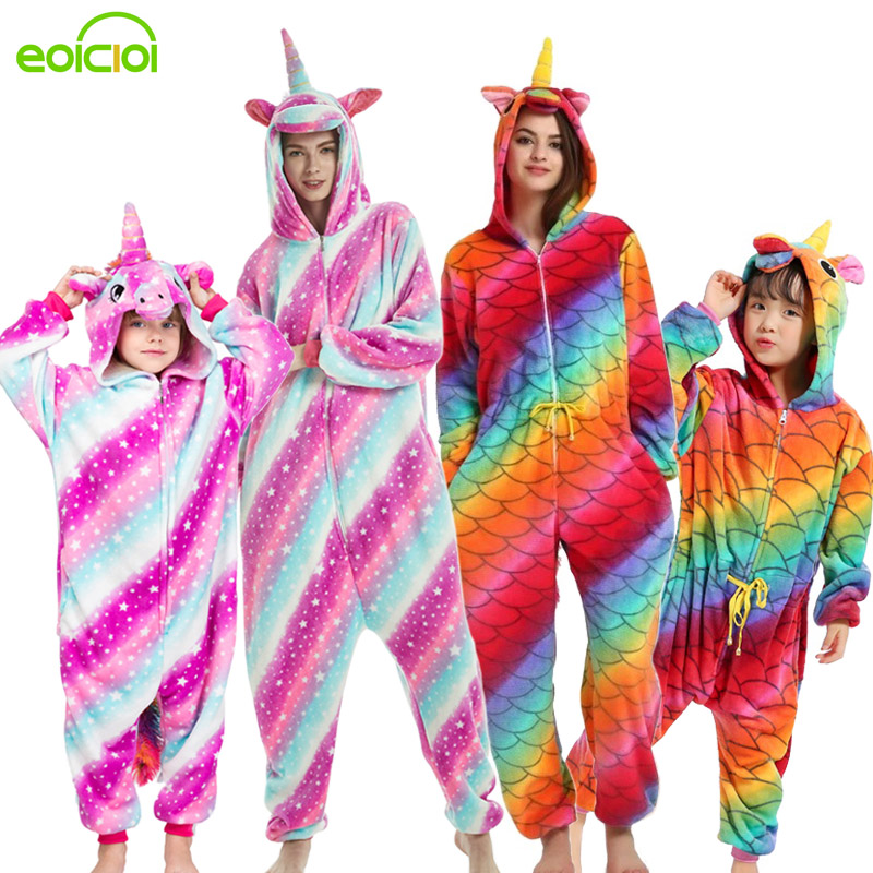 EOICIOI Women Kids Animal Fox Unicorn Pegasus Pajamas Winter Comfortable Family Hooded Sleepwear Onesie Matching Family Outfits