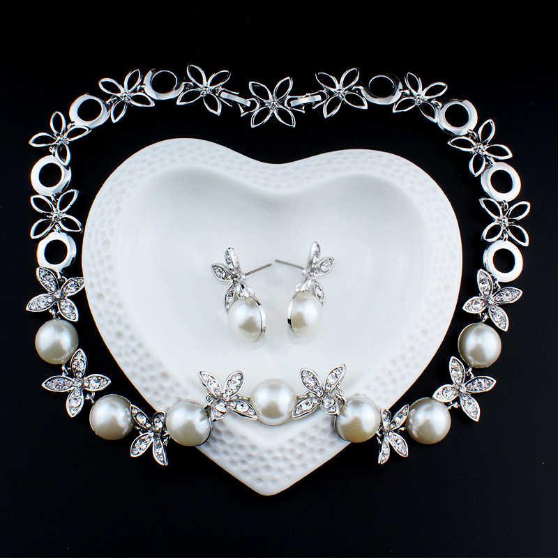 Anting-Anting Kalung Simulasi Perhiasan Mutiara Set untuk Wanita Pernikahan Aksesoris Pesta Pengantin Ditiru Kristal Liontin Dropshipping