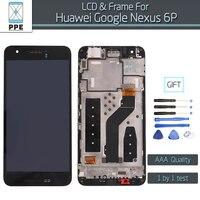 블랙 lcd 화면 huawei google nexus 6 p 원래 lcd 디스플레이 터치 스크린 디지