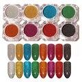 8 Unids Holográfica Láser Polvo Del Clavo Del Brillo Del Arco Iris de Color Brillante de Brillos de Uñas Manicura Cromo Pigmentos Brillo Holográfico