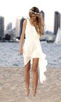 Simple Elegant 2016 Summer Style Cheap Short Ivory Chiffon Casual Beach Wedding Dress Bridal Gown Custom