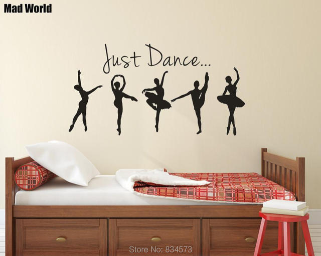 Us 12 92 9 Off Mad World Ballet Ballerina Just Dance Silhouette Wall Art Stickers Wall Decal Home Diy Decoration Removable Decor Wall Stickers In