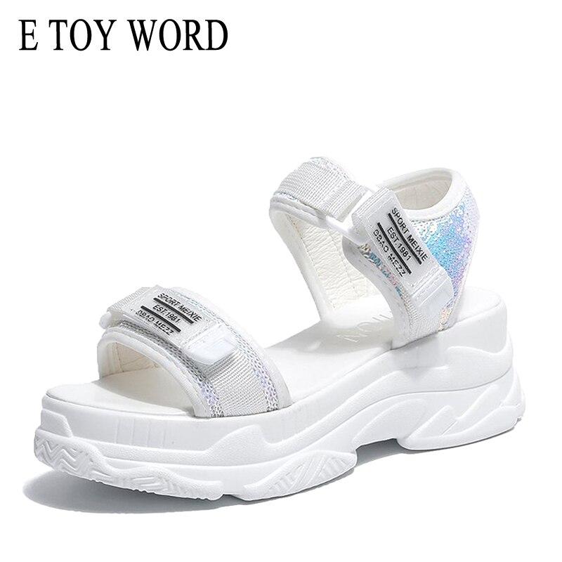 Frauen Sandalen E Spielzeug Wort Plattform Sandalen Sommer Damen Dicken Boden Schuhe Keile Offene Spitze High Heel Sandalen Schwarz Weiß Sandalen Frauen 2019