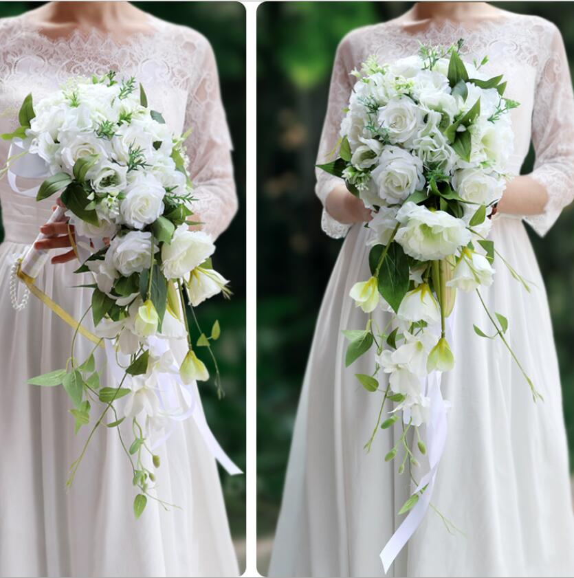 White Cascading Bridal Bouquets De Mariage Roses Orchid Artificial Silk Flower Handmade Wedding Bouquet 2019 New Hot Sale S161