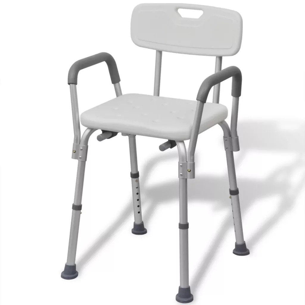 VidaXL Aluminium White Shower Chair With Drainage Holes Good Quality Material Shower Chair Suitable For Elderly