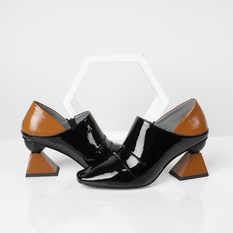 ZVQ รองเท้าผู้หญิงฤดูใบไม้ผลิใหม่แฟชั่นสีผสมสิทธิบัตรปั๊มหนังผู้หญิงนอกสูงแปลกสไตล์สแควร์ toe สุภาพสตรีรองเท้า-ใน รองเท้าส้นสูงสตรี จาก รองเท้า บน   3