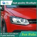 Carro de alta qualidade Styling Cabeça Da Lâmpada caso para VW Polo 2009-2015 LED DRL Daytime Running Luz Do Farol Bi-Xenon HID Acessórios