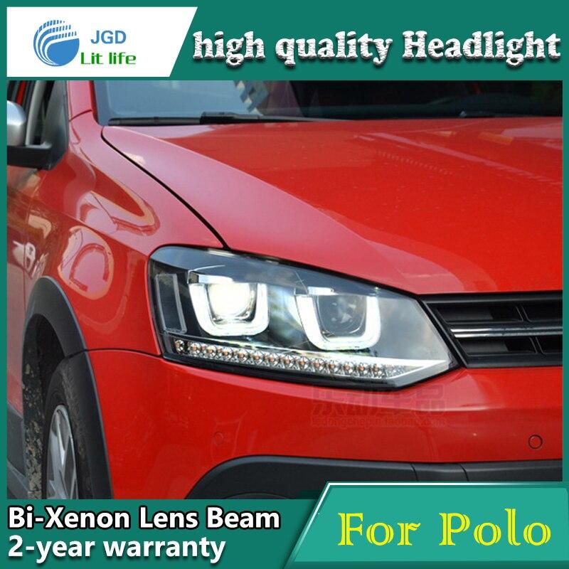 high quality Car Styling Head Lamp case for VW Polo 2009-2015 LED Headlight DRL Daytime Running Light Bi-Xenon HID Accessories high quality car styling head lamp case for vw tiguan 2013 led headlight drl daytime running light bi xenon hid accessories