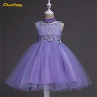100pcs/lot DHL Children dress summer sleeveless Wedding dresses rhinestone embroider Solid princess dress for kid girls dress
