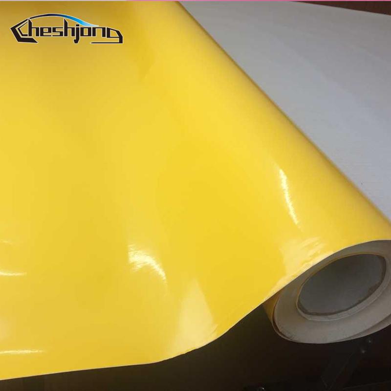 High Glossy Yellow Vinyl Sticker Adhesive PVC Car Styling Decal Gloss Film Sheet For HOOD Roof Scooter Motorcycle Wrap