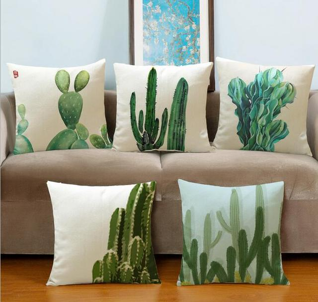45x45cm Fashion Tropical Plants Cushion Covers Cactus Pillowcase Decorative Pillow Sets Case For Sofa