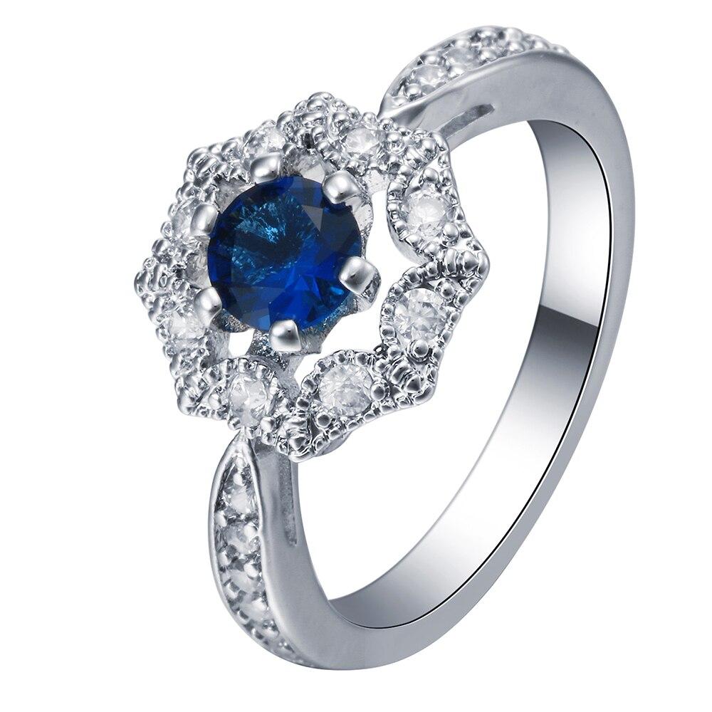 Hainon Luxury Blue Crystal Flower Rings For Women Wedding ...
