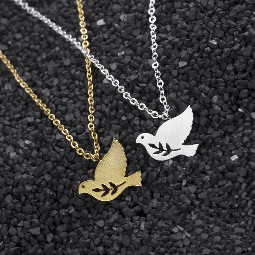 Bird Jewelry Gold Color Peace Dove Statement Necklace Women Men Sieraden Stainless Steel Pigeon Laurel Leaf Pendant Erkek Kolye