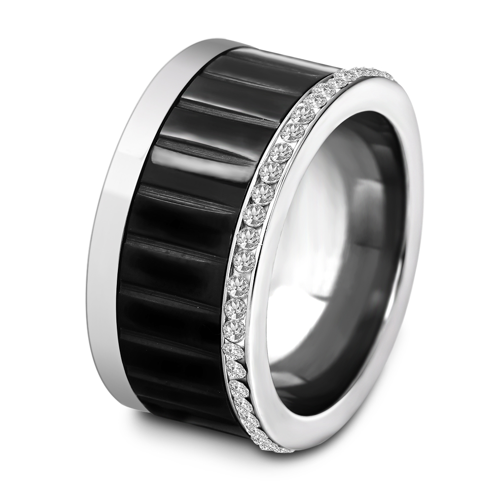 Fashion Black Rotating Spinner Ring For Women Men Stainless Steel Ring With CZ Crystal Rhinestone one piece simple gold plated fashion alloy rhinestone ring for men