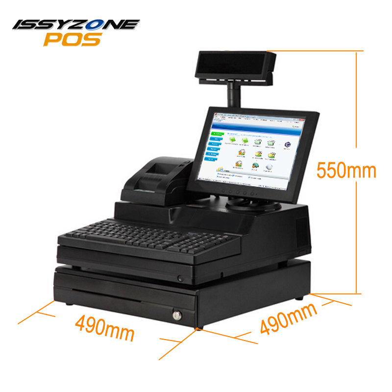 ISSYZONEPOS 12.1 Inch all in one touch screen pos restaurant cash register Touch POS System Terminal whole set VFD display все цены