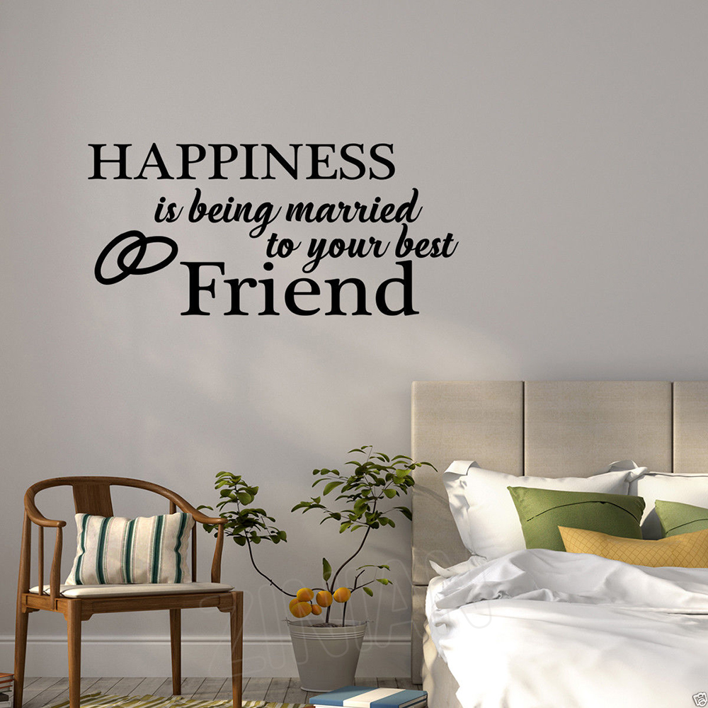 Pure Color Vinyl Lettering Wall Decal Happiness Is Being Married To Your Best Friend Vinyl Sticker Bedroom Home Wall Decor Z918 image