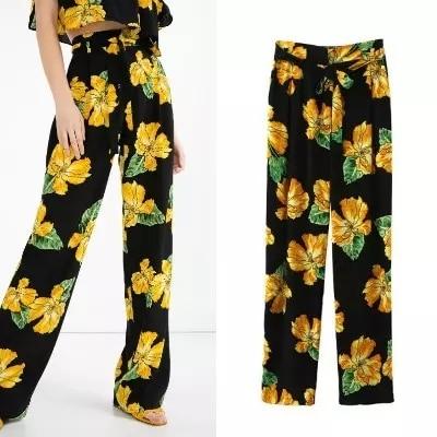 New 2016 Summer Fashion Women Wide Leg Pants Casual Lady Loose Elastic Waist Floral Print Trousers Pantalon Femme