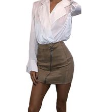 2018 Autumn Winter Tight Suede Skirt High Waist Front Zippers Mini Pencil Skirts For Women New Fashion(China)