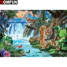HOMFUN Full Square/Round Drill 5D DIY Diamond Painting tiger Embroidery Cross Stitch Home Decor Gift A09083