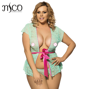 Plus Size Sexy lingerie Hot Erotic Nightwear Transparent Lace Chemise Pink Bowknot sexy Babydolls For Women