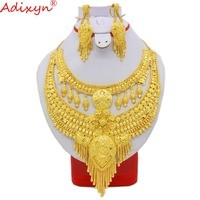 Adixyn Two Desigh India Necklace/Earrings Jewelry Sets for Womens Gold Color African Bride Wedding Party Gifts N09064