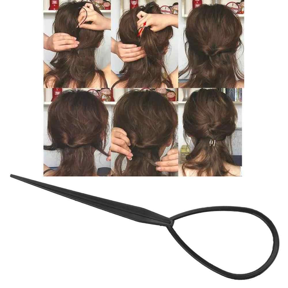 2 pçs plástico rabo de cavalo criador laço ferramentas de estilo do cabelo conjunto macio topsy pônei topsy cauda clipe de cabelo trança fabricante