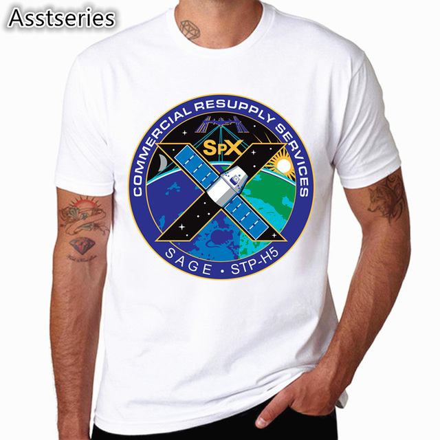 SpaceX T shirts Men Space X Logo Men's T-shirt Popular Custom Short Sleeve Occupy Mars Tshirt HCP4538 4