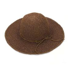 Strawhat Foldable Hat Large Brim Fashion Sunbonnet Beach Cap Folding Handmade Hat Women's Beach Cap мужская бейсболка gwcaps oem chunglim sunbonnet baseball hat