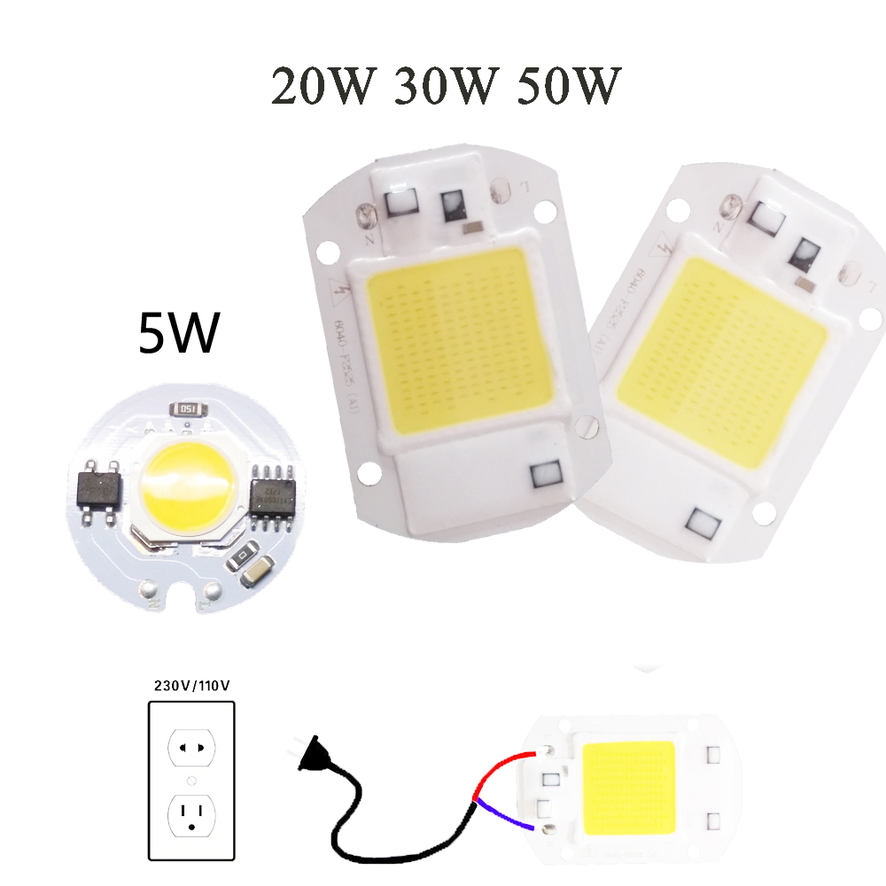 Power CoB Led Lamp Chip 5W 20W 30W 50W Light Bulb 220V IP65 Smart IC White Warm White For LED Spotlight Floodlight 5w 7w cob led e27 cob ac100 240v led glass cup light bulb led spot light bulb lamp white warm white nature white bulb lamp