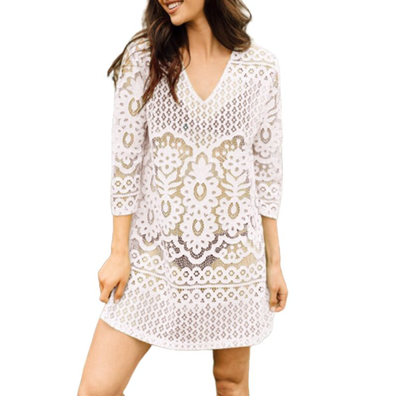 Womens Vacation Solid Color Hollow Out Beach Mini Dress Sexy Semi Sheer Crochet Floral Lace Deep V-neck Bikini Cover Up 3/4 Slee Fine Craftsmanship Women's Clothing