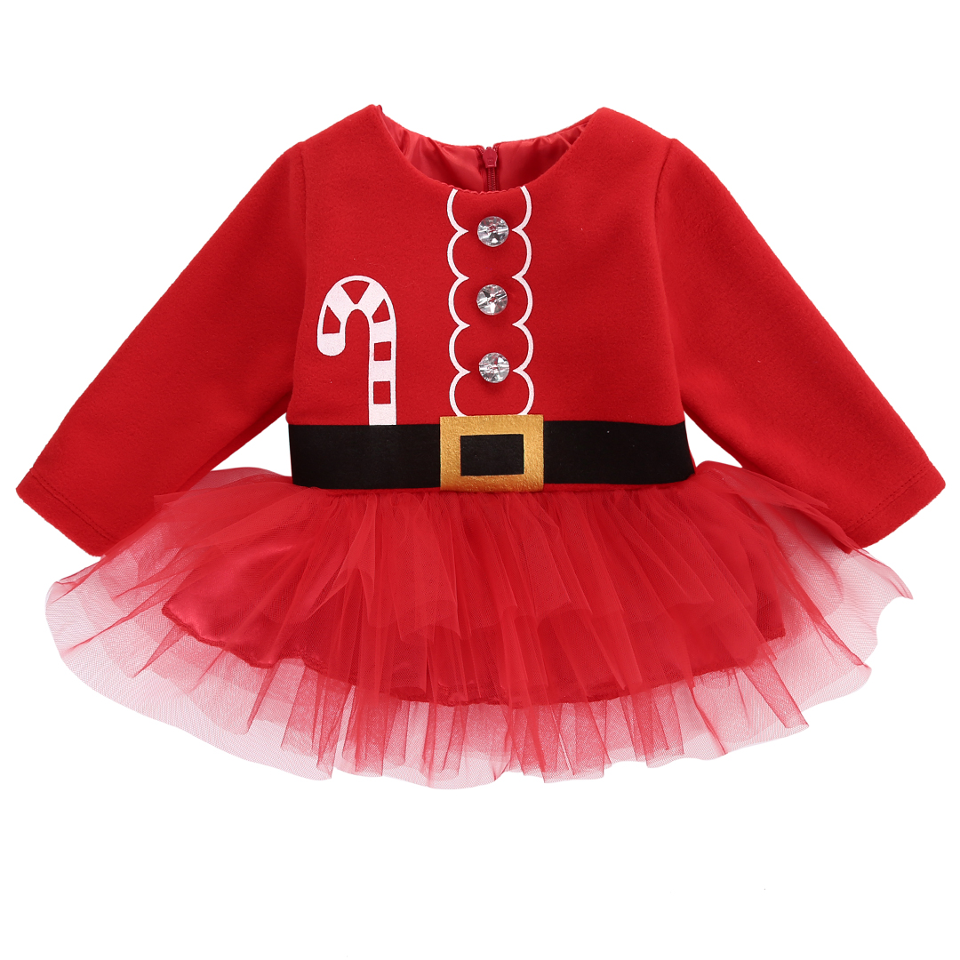 Xmas Newborn Baby Girls Long Sleeve Dress Christmas Santa Claus Tulle Dresses Kids Outfits Costume Hot Cute недорого