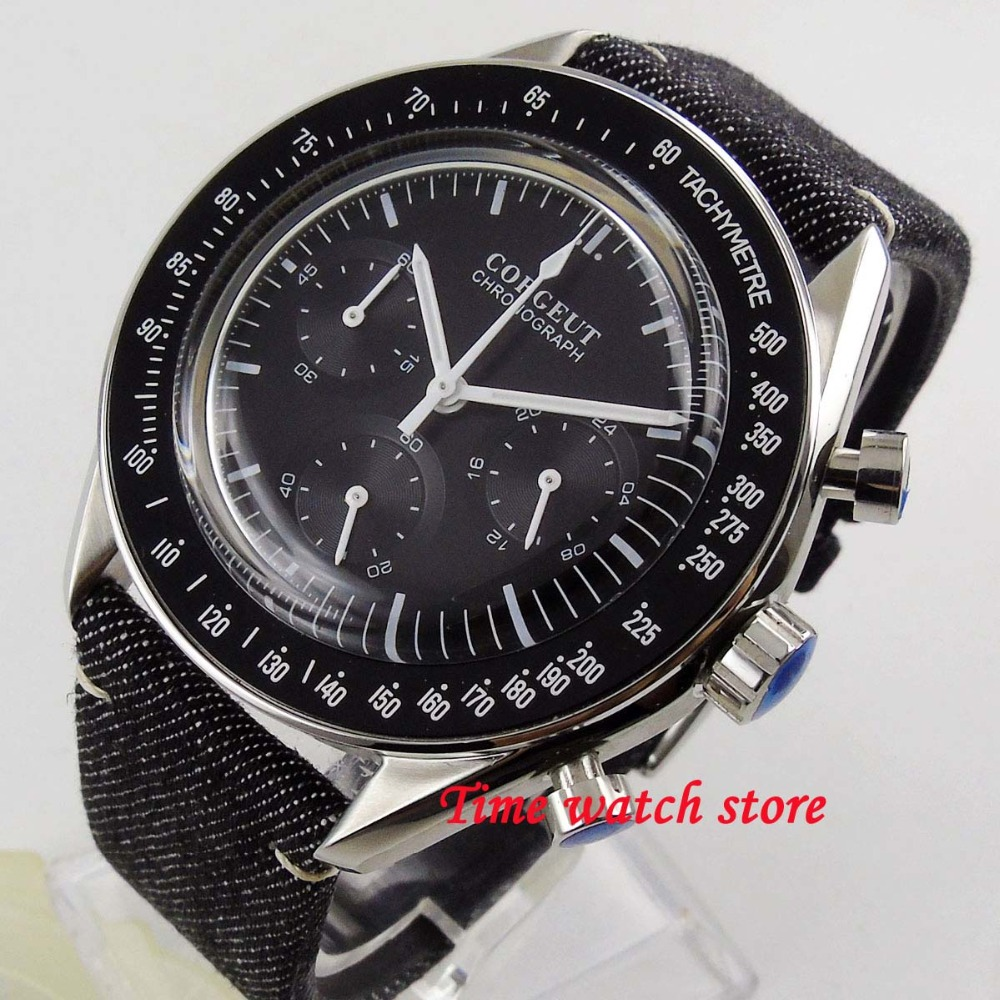 Polished 40mm Corgeut Quartz men s watch Full Chronograph Black dial Arched glass black bezel stop