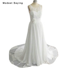 New Collection 2018 Elegant White A-Line Lace Wedding Dresses with Flowers Formal Women Pearls Bridal Gowns vestido de noiva