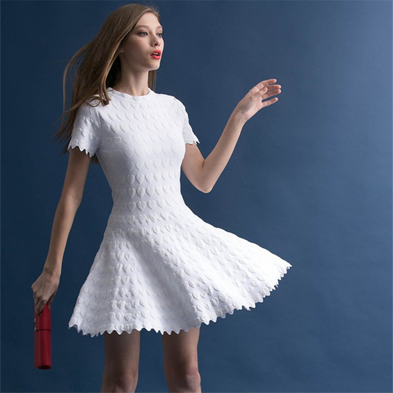 3834f57d2c1 Sweater dress 2018 spring autumn casual short sleeve Heart shaped knit mini  dress Slim basic dresses white / pink / red cardigan-in Dresses from  Women's ...