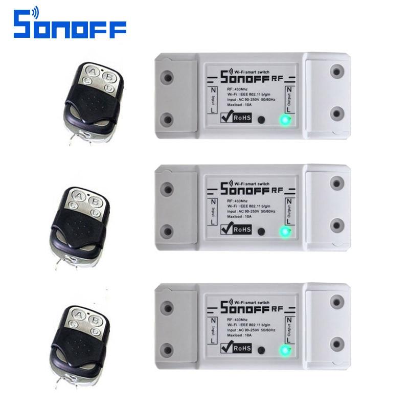 3 stücke itead sonoff rf Smart Fernbedienung 433 mhz AC90 250v 10A Wifi Schalter Modul für licht Smart Home universal wireless schalter-in Heimautomatisierungsmodule aus Verbraucherelektronik bei  Gruppe 1