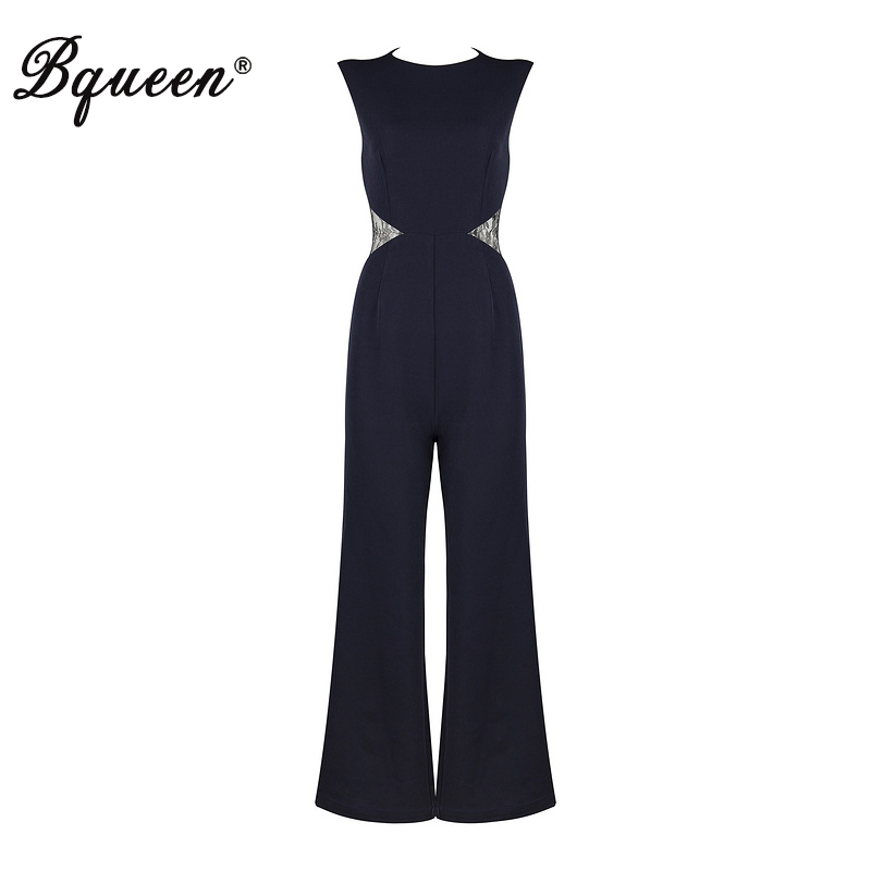Bqueen 2017 Casual Regular Full Length Solid O Neck Autumn Bodysuits Fashion Hollow Out Backless Women Jumpsuits Sexy Jumpsuits