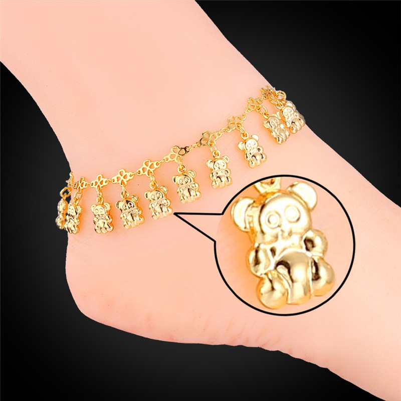 jewelry plated gold pendant cubic women woman new bracelet anklets zirconia detail classical product ankle cute elephant with anklet