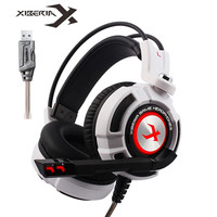 Xiberia K3 Over Ear PC Gamer Game Headset USB 7.1 Virtual Surround Sound Stereo Bass Pro Gaming Headphone with Mic Vibration LED