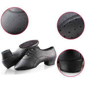 Image 5 - Latin Dance Shoes Boy Men Professional Leather Latin Shoes Black for Kids Low heeled