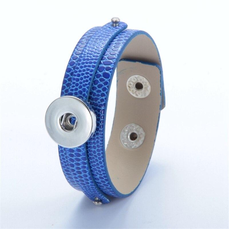 12 Candy colours PU leather snap button bracelet DIY 18MM button charms bangle women men 20cm Wristband DIY Accessory