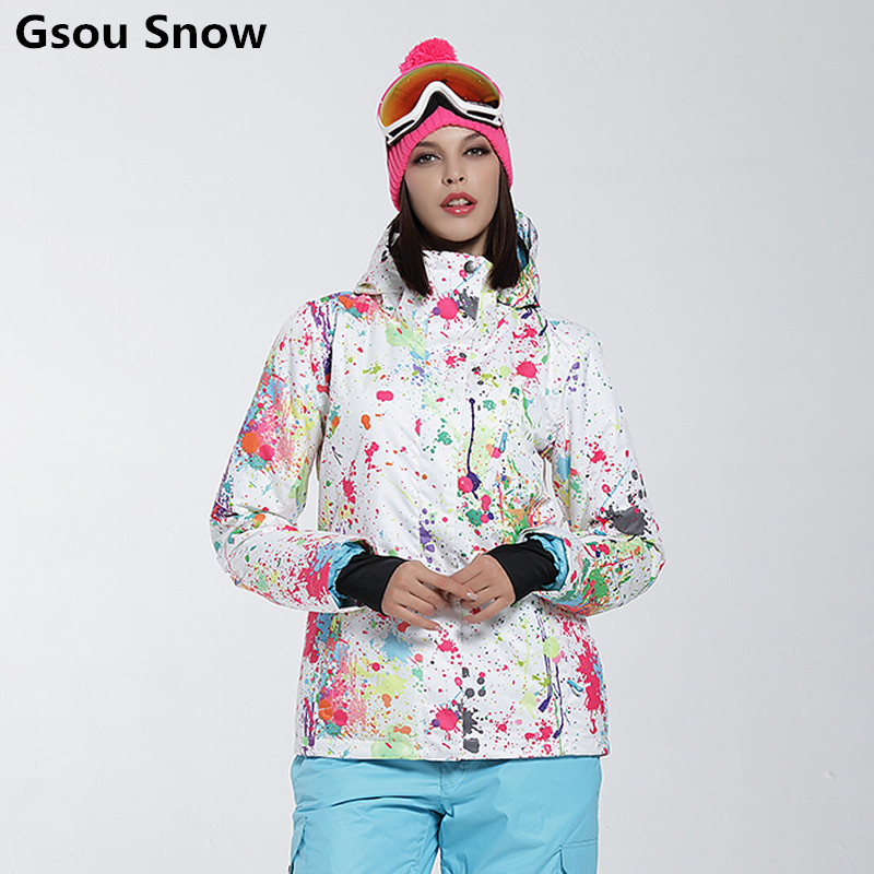 Gsou neige coloré ski costume femme snowboard veste veste ski femme hiver veste femme ski veste skiwear chaud esqui