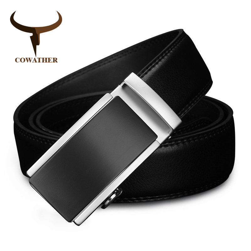 COWATHER 2019 luxury men   belt   for men automatic alloy buckle high grade cow leather   belt   vintage design Cowskin Male Strap CZ117