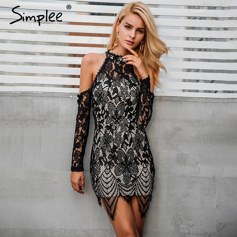 Buy Simplee Halter cold shoulder black lace dress Women sexy slim bodycon dress vestidos Elegant fringed christmas party mini dress