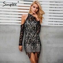 Simplee Halter cold shoulder black lace dress Women sexy slim bodycon dress vestidos Elegant fringed christmas party mini dress