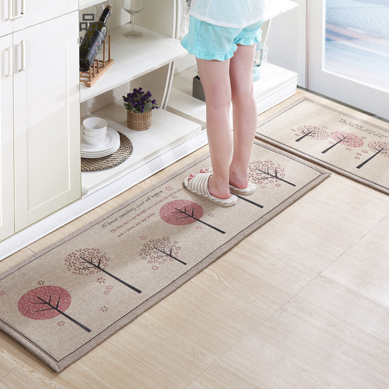50X80+50X160CM/Set Linen Kitchen Mat Home Entrance/Hallway Doormat Anti-Slip Bathroom Carpet Absorb Water Carpet/Rug